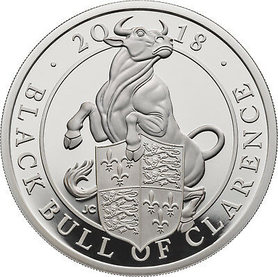 1 Oz Silver Proof Queens Beasts Black Bull of Clarence 2 £ UK 2018 silber