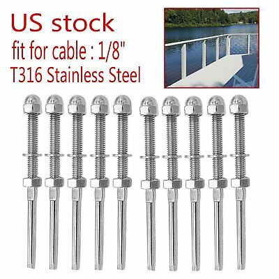 """T316 Swage Threaded Tensioner for 1/8"""" Cable Railing Systems - Stainless Steel"""