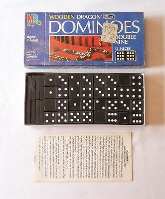 Vintage 1983 Milton Bradley WOODEN DRAGON DOMINOES Double Nine Set - COMPLETE!