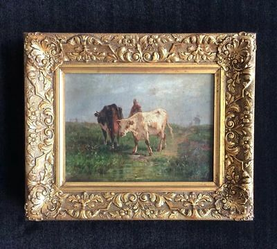 Girl and Cows Pastoral Landscape original oil painting signed A C