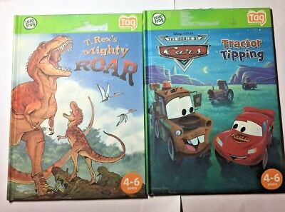 LOT OF 2 Leap Frog Tag Story Books T Rex's Mighty Roar and Cars Tractor Tipping