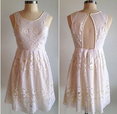 5893533fb295 FREE PEOPLE ROCCO Floral Lace Dress in White Size 10 Large NWT  148 ...