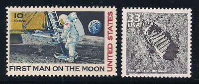 Apollo 11 - First Man On The Moon - Footprint - 2 U.s. Stamps - Mint Condition