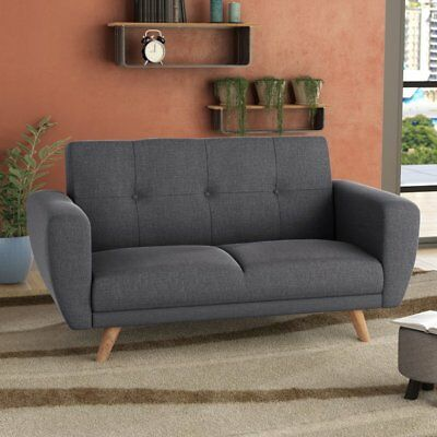 Vintage Sofa Bed Furniture Living Room Retro Fabric Couch 2 Seater Wooden Legs