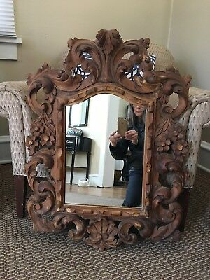 Antique Wood Baroque Swedish Mirror Made in Spain