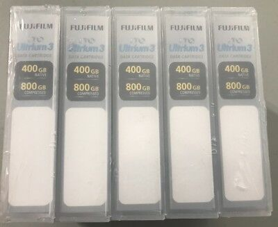5 New Fujifilm Lto Ultrium 3 Data Cartridges 400 Gb 800 Gb - Factory Sealed