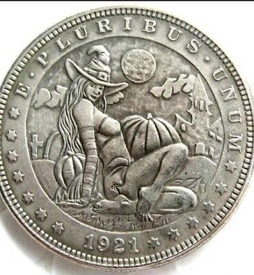 New Hobo Nickel 1921 Sexy Witch in Graveyard Halloween Morgan Dollar Casted Coin
