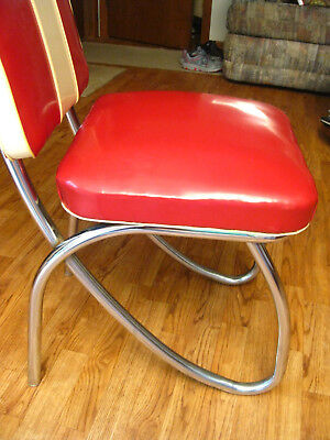 Four Vintage 1950s Mid-Century Retro Chrome Kitchen Chairs   RARE FIND (B)