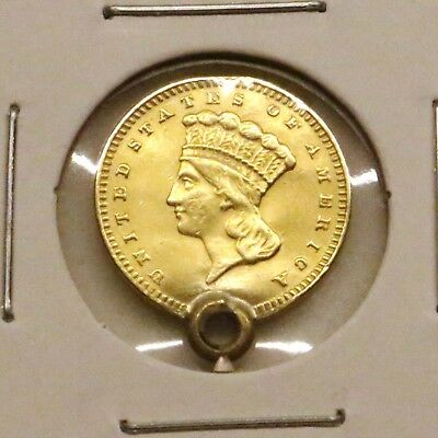 1856-1889 Type 3 G$1 Indian Princess Large Head Gold Dollar: Love Token