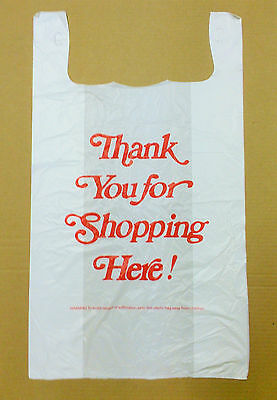"500 18x8x32 Jumbo 32"" Large Retail Thank You High Density Plastic T-Shirt Bags"