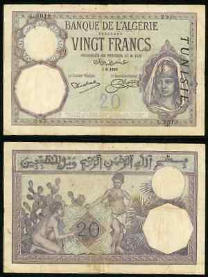 1929 Tunisia 20 Francs By Bank of Algeria Banknote P# 6b Maiden in Head Dress F+