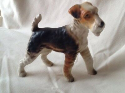 Vintage Wire Fox Terrier Figurine 5x4 inch  Japan Made