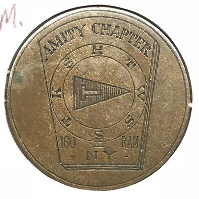 Engraved R.A.M. Mason Token Amity NY Chapter 160 on 1908 Great Britain Penny