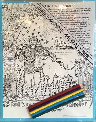"""Minne Mural"" Poster - Cindy Kolling - Paul Bunyan & Babe, the Blue Ox - 1996"