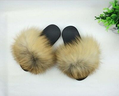 397b87ab058998 2018 Flat Women Real Fur Sliders Slippers Indoor Outdoor Comfortable Shoes