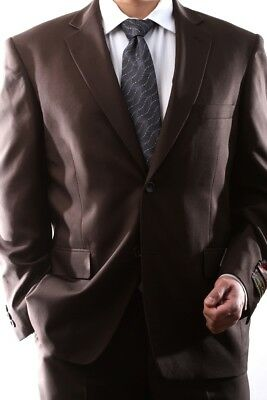 Mens Single Breasted 2 Button Brown Dress Suit Size 40L, Pl-60212N-208-Bro
