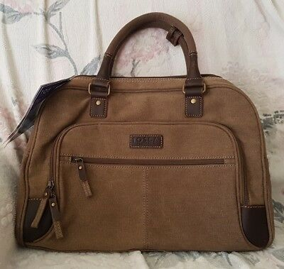 TOSCA Brown Canvas Cabin 16L Zip Bag BNWOT