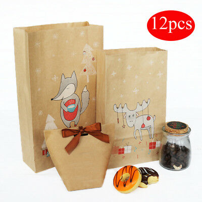 12x/lot Kraft Paper Xmas Party Holiday Cookies Present Gift Bag Candy Christmas