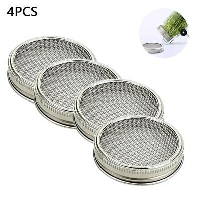 Home Strainer Stainless Steel Sprouting Lid Mason Canning Jars Wide Mouth 2/4Pcs