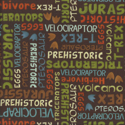 Dino-Riffic Dinosaur Words on Brown Prehistoric Quilting Fabric FQ or Metre *New