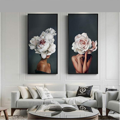 Abstract Art Painting Flower Girl Sexy Women Canvas Wall Decorations Painting