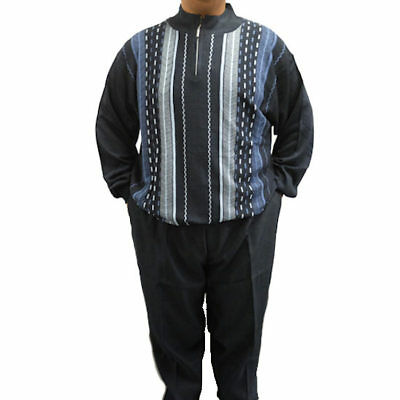 Stacy Adams Men's 1/4-Zip Sweater and Pants Set in Navy - 5XL