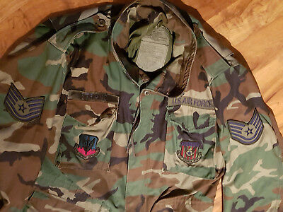 US Air Force M 65 Feldjacke woodland Gr. Large/Long mit Patches