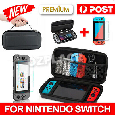 Nintendo Switch Carry Bag Storage Case Console Protective Shell + Tempered Glass