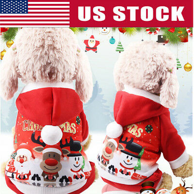 Christmas Pet Dog Puppy Hoodie Sweater Xmas Warm Clothes Costume shirt Hat Gift