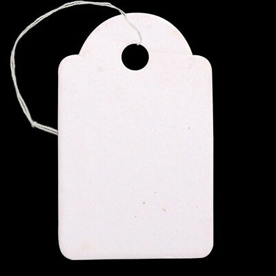 2500xRectangle Blank Hang Tag Jewelry Display Paper Price Tags With Cotton Cord