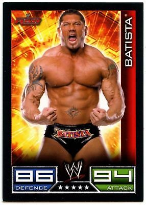 "2008 WWE TOPPS ""BATISTA"" SLAM ATTAX WRESTLING TRADING CARD as NEW [COND]"