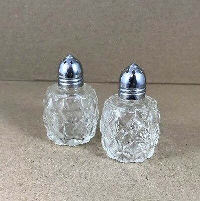 """Clear Glass Cube Chrome Top Salt and Pepper Shakers 2"""" Tall"""
