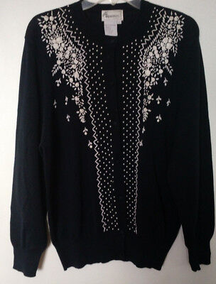 Womens sweater embroidered beaded cotton Large 48 bust vintage cardigan