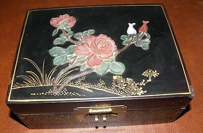 Vintage Black Laquer Jewelry Box Asian Oriental Carved Rose Design w/ Brass