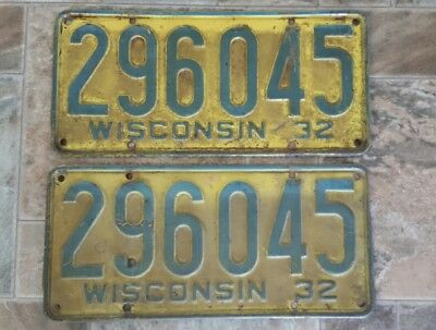 1932 Wisconsin License Plate Plates Pair Wi Match Set Antique Vintage Rare Wis