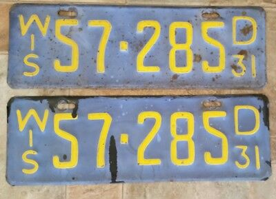 1931 Wisconsin License Plate Plates Pair Wi Match Set Antique Vintage Rare Wis