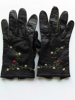 Vintage Women's Gloves Italy 50's Embroidered Black Leather Flowers Roses
