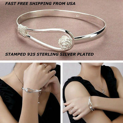 New Women Fashion 925 Sterling Silver Plated Charm Cute Flower Bracelet Bangle