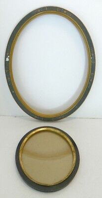 2 Vintage Antique Wooden Oval Picture Frames, Gesso Flowers & Wavy Old Glass
