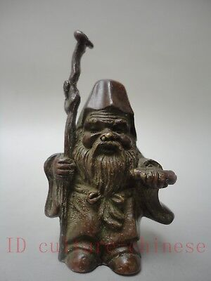 Rare Collected Old China Bronze Carving Earth god Statue paperweight Decoration