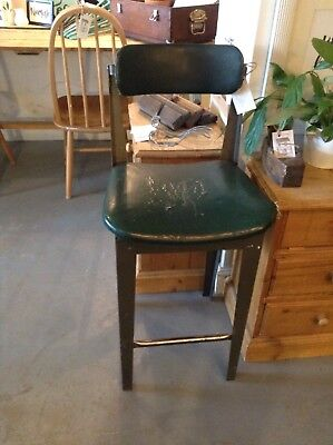 Industrial High Stool With Adjustable Back , Green Upholstery