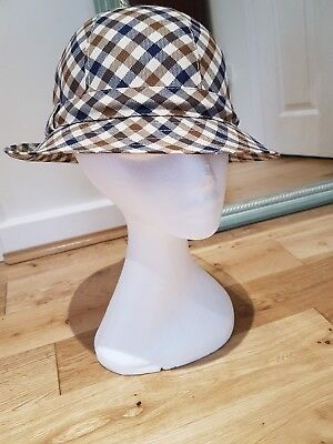 Aquascutum elegant Vintage Heritage check wool trilby hat lined 60s trend Small