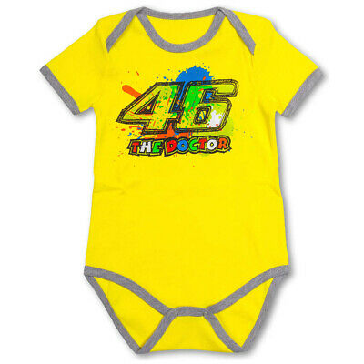New - Official VR46 Valentino Rossi Classic Kids Baby Vest - Yellow 12 Months