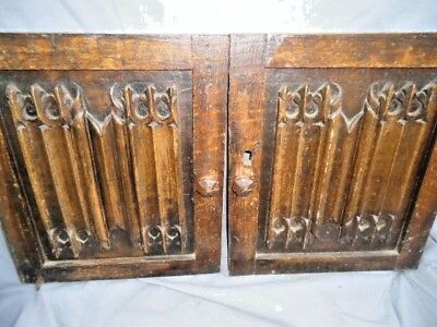 Two 18Th  Century Oak Carved Linenfold  Gothic Panel Doors