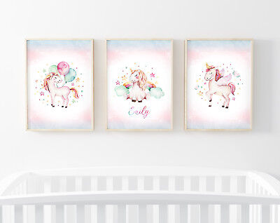 Personalised Unicorn Gift - Nursery Prints for Baby Girl Bedroom Art 3 Pictures