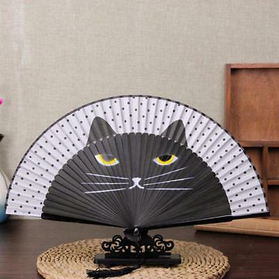 Vintage Japanese Silk Hand Held Cartoon Cat Painted Folding Fan Craft Gift 6L