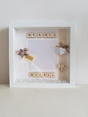 Personalised MR.& MRS .SCRABBLE Wedding Day Box Frame Gift