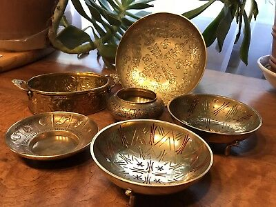 Vintage Solid Brass Mixed Bowls and Pot/Planer ( Lot of 6 )