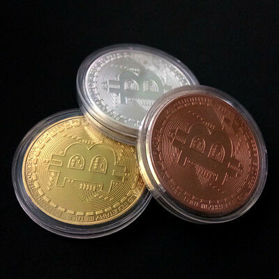 Golden Bitcoin Commemorative Round Collectors Coin Bit Coin Gold Plated Coins