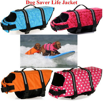 Pet Dog Life Jacket Safety Clothes Life Vest Collar Harness Saver Swimming New